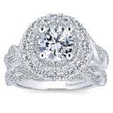 14k White Gold Diamond Double Halo Engagement Set ER12800R4W44JJ