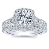 14k White Gold Diamond Halo Engagement Set ER12761R4W44JJ