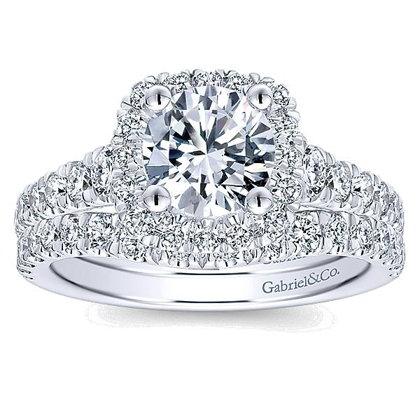 14k White Gold Diamond Halo Engagement Set ER12761R4W44JJ