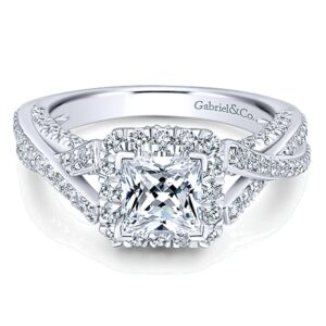 ER12959S4W44JJ 14k White Gold Diamond Halo Engagement Ring