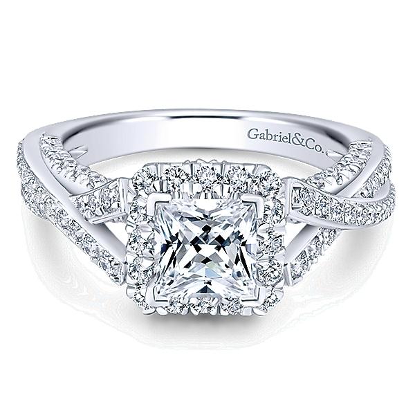 ER12959S4W44JJ 14k White Gold Diamond Halo Engagement Ring