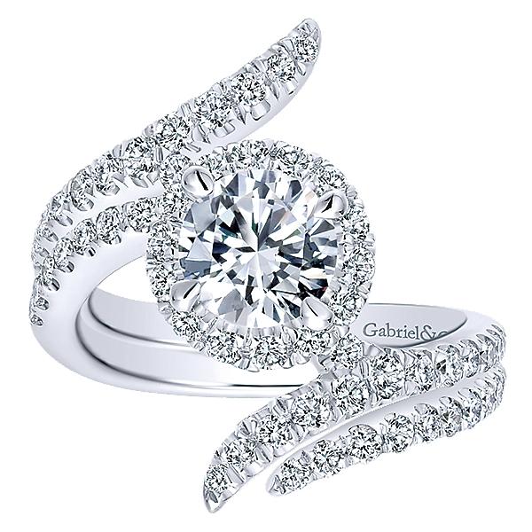 14k White Gold Diamond Halo Engagement Set ER12590R4W44JJ
