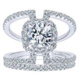 14k White Gold Diamond Halo Engagement Set ER12641R4W44JJ