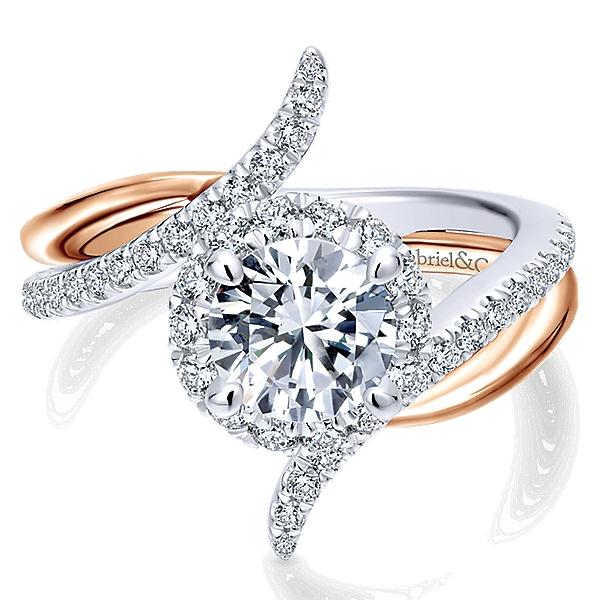 ER12758R4T44JJ 14k White Pink Gold Diamond Halo Engagement Ring