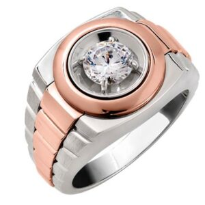 14k white gold-rose gold men's diamond ring