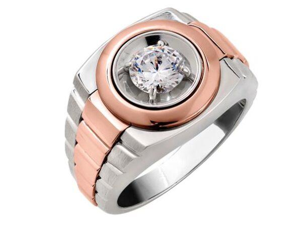 14k white gold-rose gold men's diamond ring
