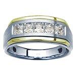 Men's 14k white and yellow gold diamond ring