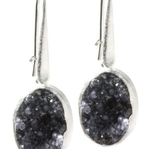 Bella Druzy Silver Earrings