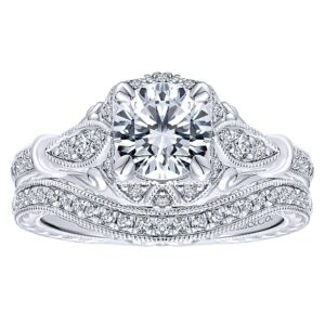 14k White Gold Diamond Halo Engagement Set ER12581R4W44JJ