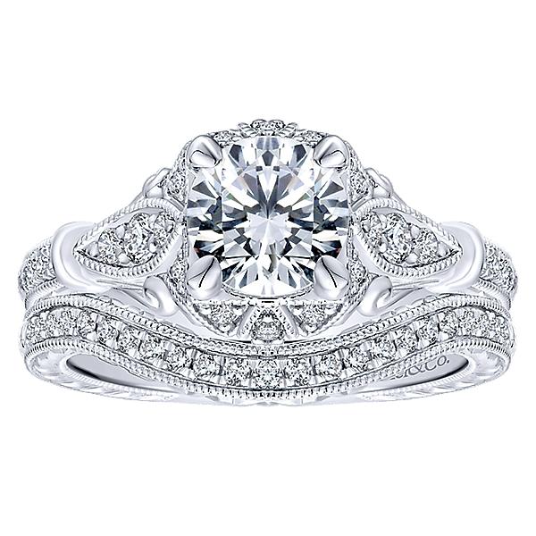 14k White Gold Diamond Halo Engagement Set ER12581R4W44JJ