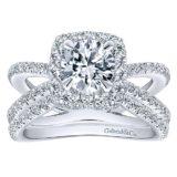 14k White Gold Diamond Split Shank Engagement Set ER12587R4W44JJ