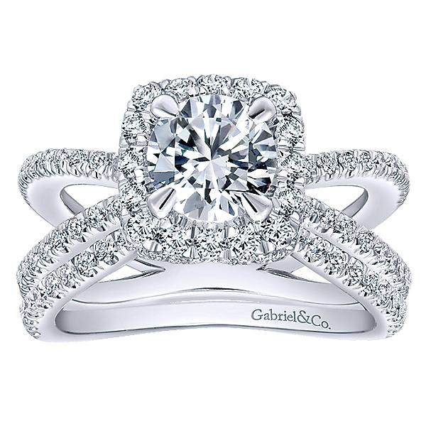 14k White Gold Diamond Split Shank Engagement Set ER12587R4W44JJ