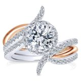 14k White Pink Gold Diamond Halo Wedding Set ER12758R4T44JJ