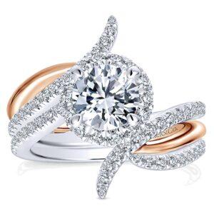 14k White Pink Gold Diamond Halo Wedding Set ER12758R4T44JJ