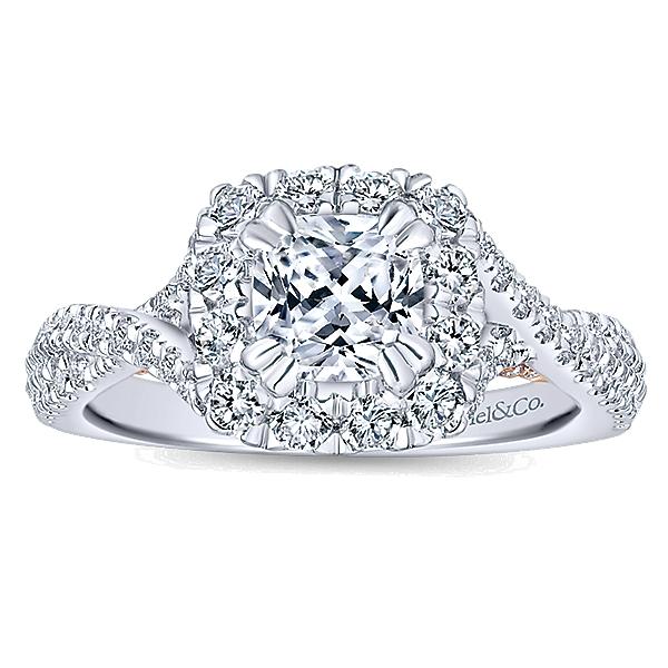 14k White pink Gold Diamond Halo Engagement Ring ER12823C4T44JJ