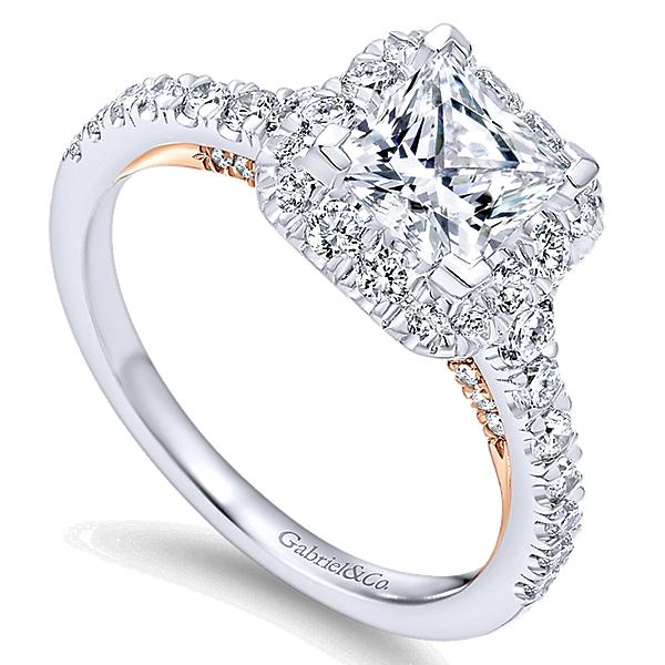 14K White Gold Halo Engagement Rings ER12836S4T44JJ