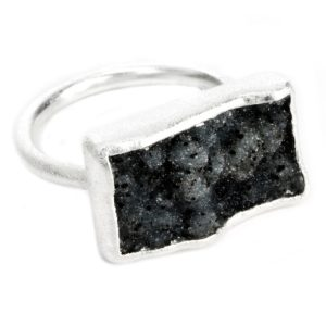 Nirvana Black Druzy Silver Ring