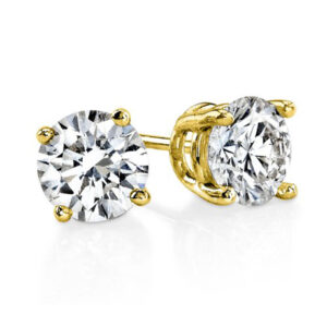 Yellow Gold Diamond Stud Earrings