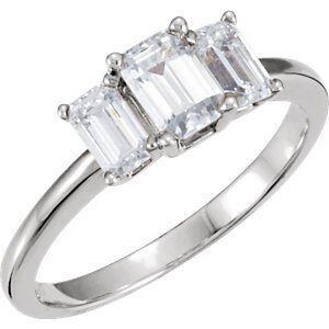 Platinum 1.65ct TW Past Present and Future Emerald Cut Diamond Ring