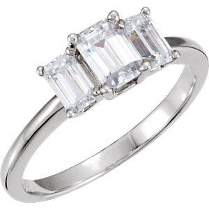 Platinum 1.65ct TW Past Present and Future Emerald Cut Diamond Ring