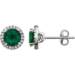 14k White Gold Emerald Diamond Color Stone Earrings