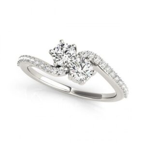 14k White Gold Diamond Two Stone Ring