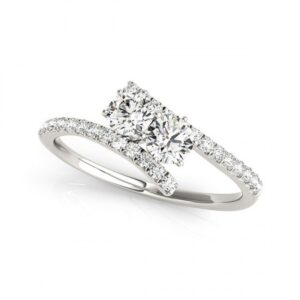 14k White Gold Diamond Two Stone Diamond Ring