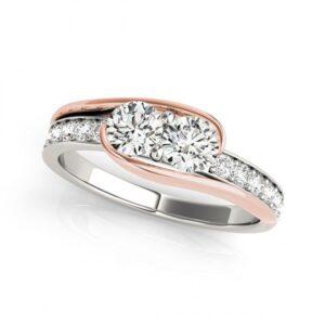 14k White Gold Diamond Two Stone Ring