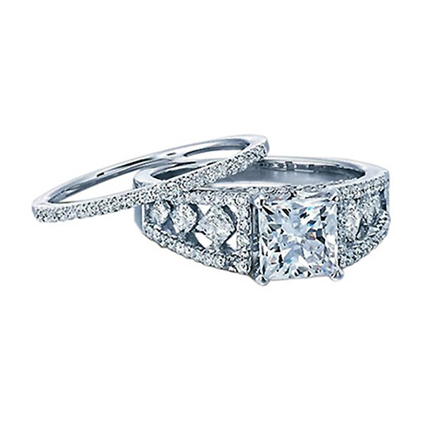 14k White Gold Diamond Vintage Engagement Ring