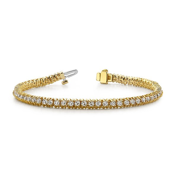 SB947 14k Yellow Gold Ladies Diamond Tennis Bracelet