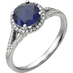 14k White Gold Sapphire Diamond Color Stone Ring