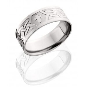 Etched Crosses and Polished Men's Ring