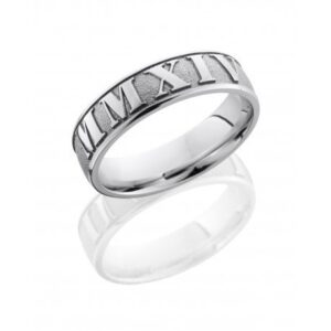 Roman Numeral Sandblasted Polished Men's Ring
