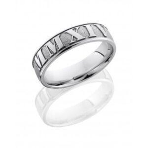 Roman Numeral Sandblasted Polished Men's Ring