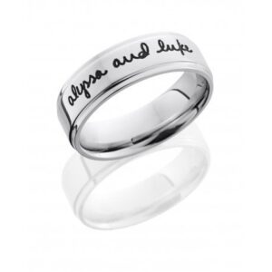 Handwriting and Polished Men's Ring