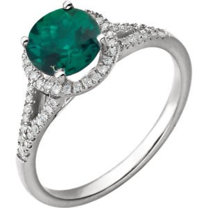14k White Gold Emerald Diamond Color Stone Diamond Ring