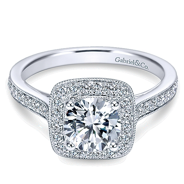 14k White Gold Victorian Engagement Ring