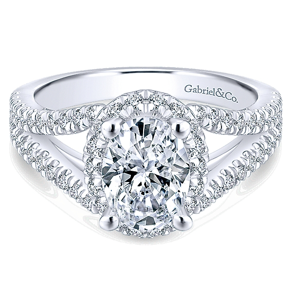 14k White Gold Rosette Engagement Ring