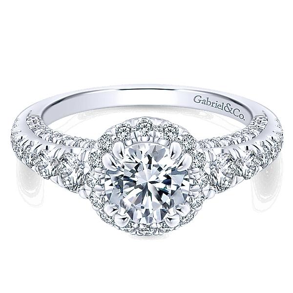 14k White Gold Infinity Engagement Ring