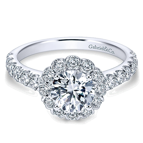 14k White Gold Contemporary Engagement Ring